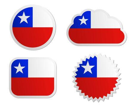 bandera de chile: Bandera de Chile etiquetas Vectores