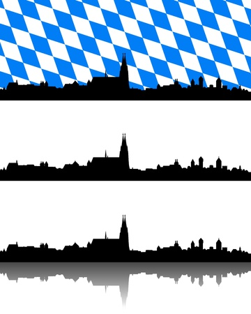 bavaria: Silhouette of Regensburg, Bavaria