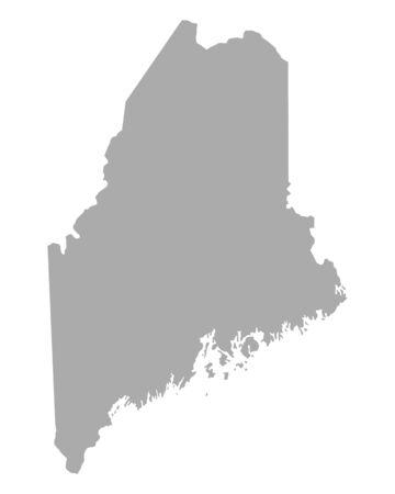 maine: Map of Maine Illustration