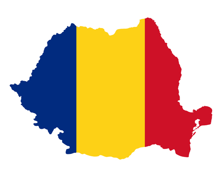 Map and flag of Romania Çizim