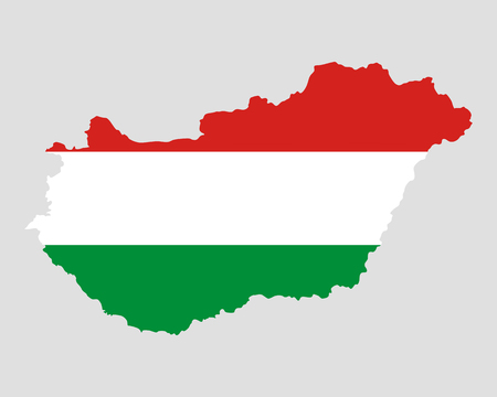 Map and flag of Hungary Vector
