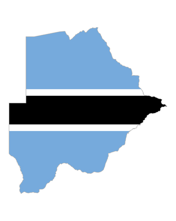 botswana: Map and flag of Botswana Illustration