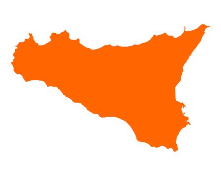 Kaart van Sicilië Stock Illustratie
