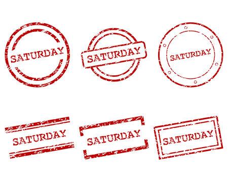 saturday: Saturday stamps Illustration