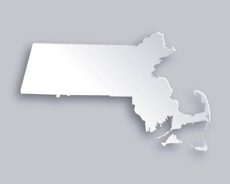 massachusetts: Map of Massachusetts Illustration