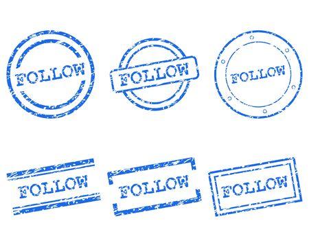follow: Follow stamps Illustration