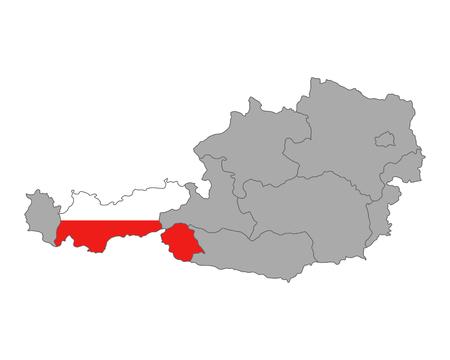 tyrol: Map of Austria with flag of Tyrol Illustration