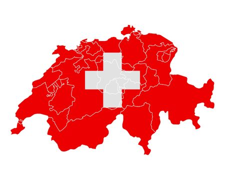 swiss flag: Map and flag of Switzerland