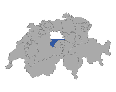 cantons: Map of Switzerland with flag of Luzern