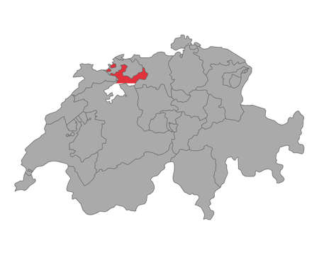 cantons: Map of Switzerland with flag of Solothurn Illustration