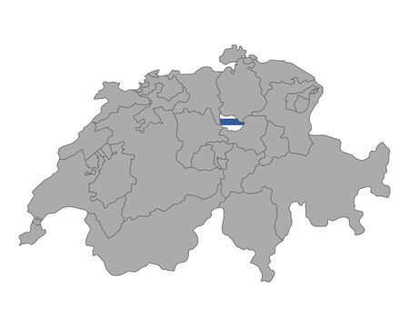 cantons: Map of Switzerland with flag of Zug