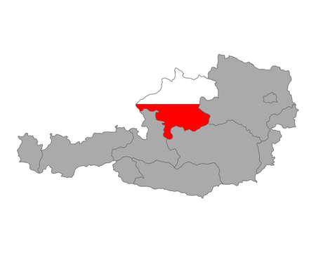 upper austria: Map of Austria with flag of Upper Austria Illustration