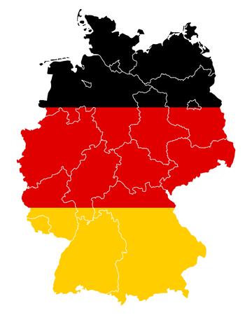 deutschland karte: Karte und Flagge von Deutschland Illustration