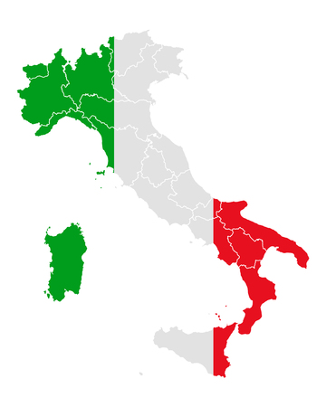 Map and flag of Italy Ilustração