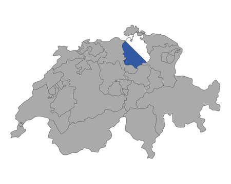 swiss flag: Map of Switzerland with flag of Zuerich