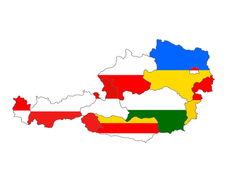 Map of Austria with flag of states Vector