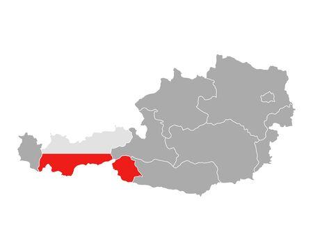 チロル: Map of Austria with flag of Tyrol  イラスト・ベクター素材