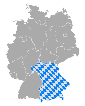 bavaria: Map of Germany with flag of Bavaria
