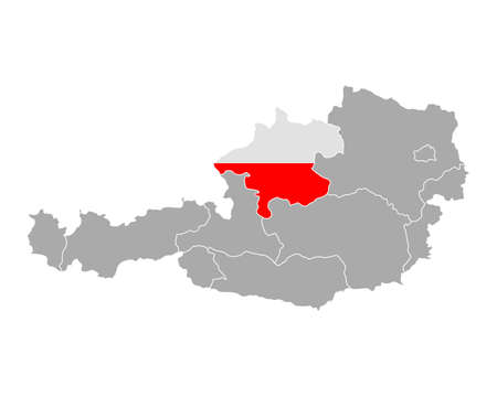 upper austria: Map of Austria with flag of Upper Austria Illustration