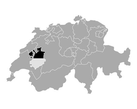 cantons: Map of Switzerland with flag of Fribourg Illustration