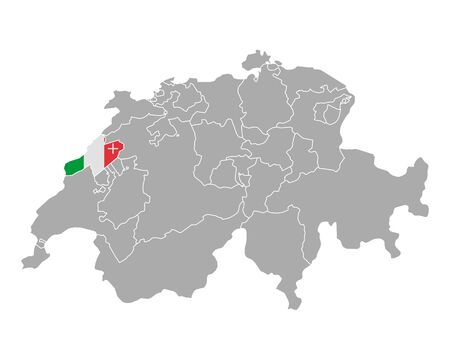 cantons: Map of Switzerland with flag of Neuchatel