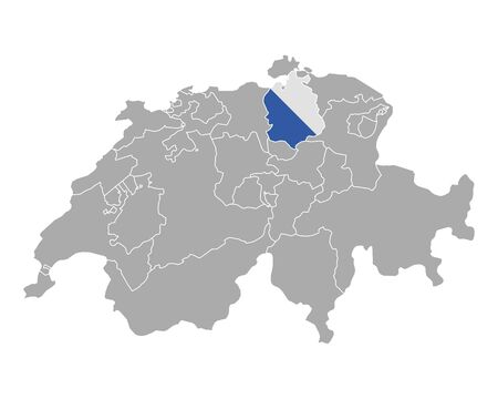 cantons: Map of Switzerland with flag of Zuerich