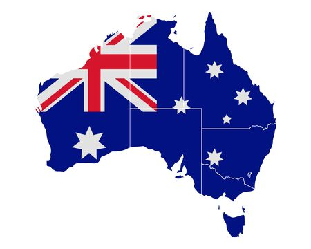 queensland: Map and flag of Australia Illustration