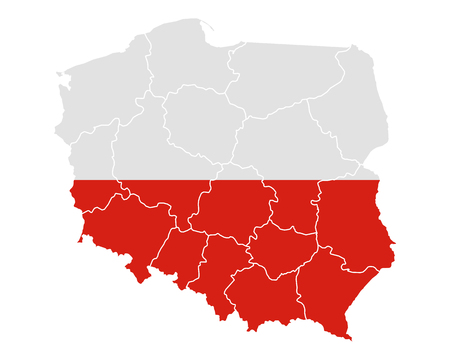 isolated: Map and flag of Poland