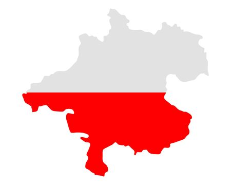 upper austria: Map and flag of Upper Austria