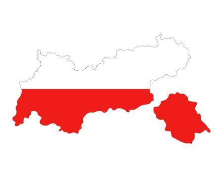 チロル: Map and flag of Tyrol  イラスト・ベクター素材