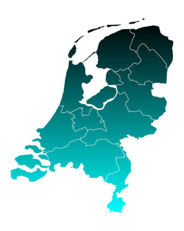 map of netherlands: Map of thr Netherlands Illustration