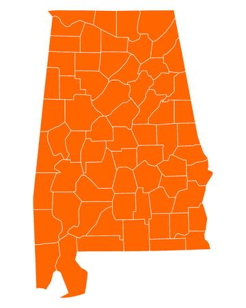 alabama: Map of Alabama Illustration