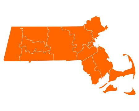 orange county: Map of Massachusetts Illustration