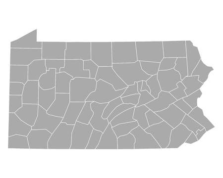 Map of Pennsylvania Illustration
