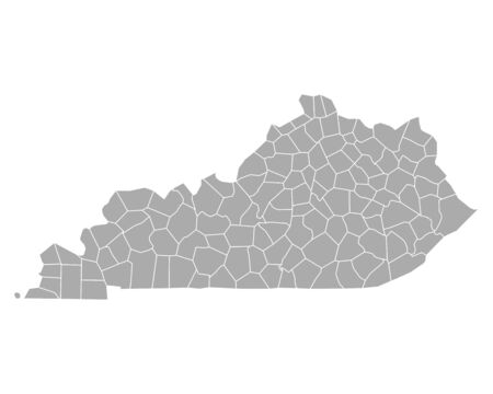 county: Map of Kentucky Illustration