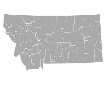 Map of Montana Векторная Иллюстрация