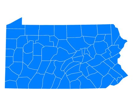 pennsylvania: Map of Pennsylvania Illustration