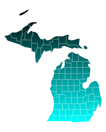 michigan: Map of Michigan Illustration