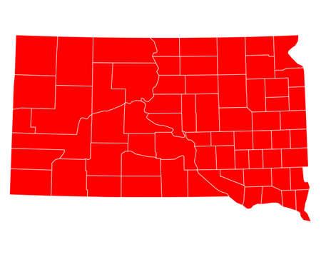 south dakota: Map of South Dakota