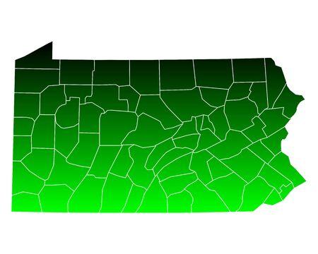 counties: Map of Pennsylvania Illustration