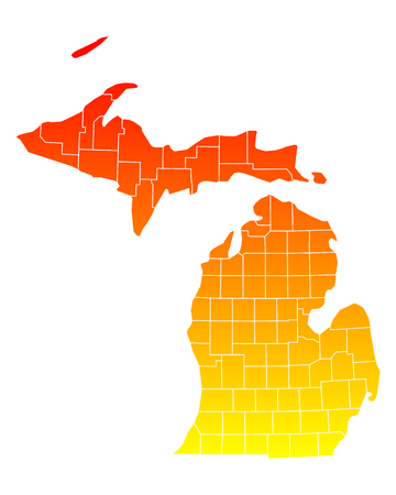 counties: Map of Michigan Illustration