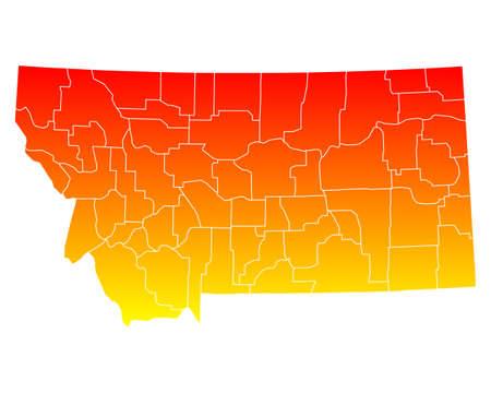 orange county: Map of Montana Illustration