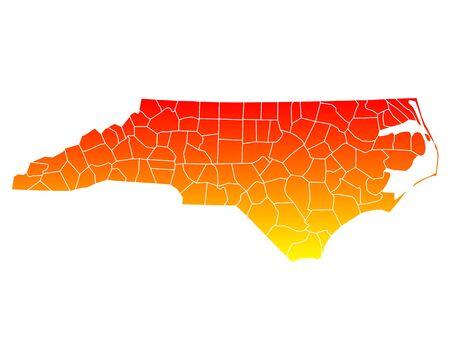counties: Map of North Carolina Illustration