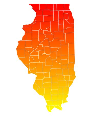 orange county: Map of Illinois Illustration