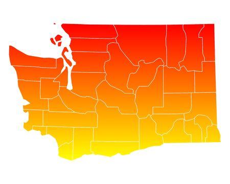 orange county: Map of Washington Illustration