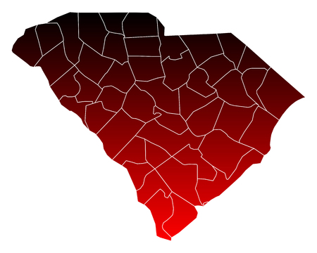south carolina: Map of South Carolina Illustration