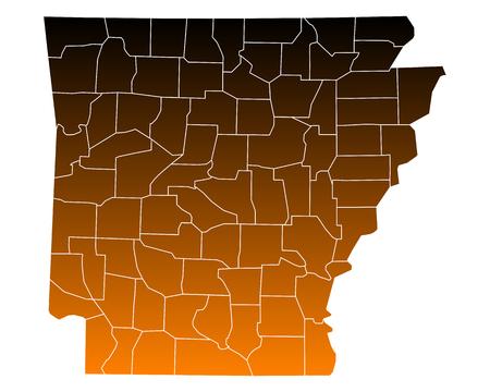 arkansas: Map of Arkansas Illustration