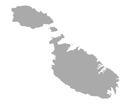 Map of Malta on white background, vector illustration.