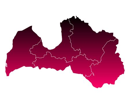 Map of Latvia on white background, vector illustration.