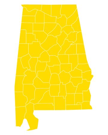 Map of Alabama Illusztráció